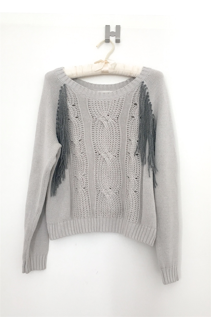 DIY Fringe Sweater. Fashion and Style Blog Girl from Heartfelt Hunt showing her diy for a fringe sweater.