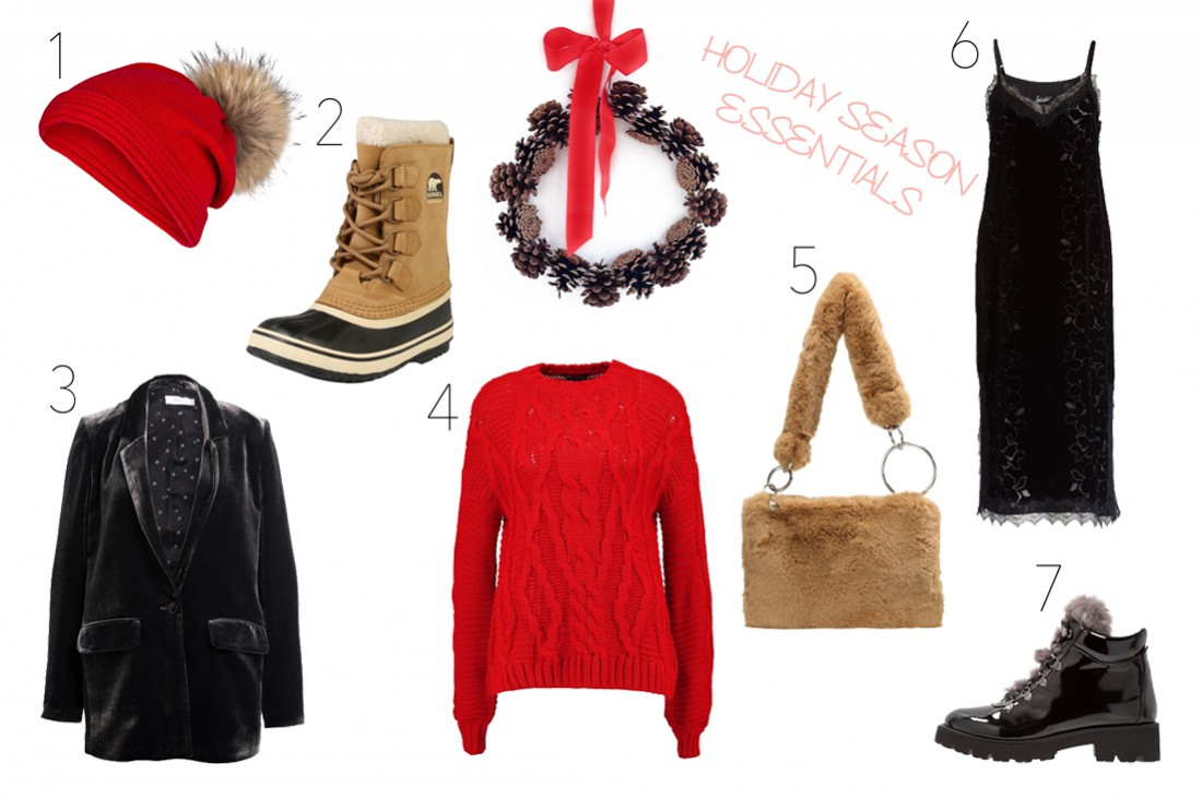 Holiday Season Essentials 2017. Fashion Blogger Girl by Style Blog Heartfelt Hunt. Girl with blond long hair showing a red beanie with pompom, Sorel boots, velvet blazer, red sweater, faux fur bag, velvet dress with lace and shiny boots.