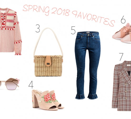 Inspiration Spring 2018 Favorites. Fashion Blogger Girl by Style Blog Heartfelt Hunt. Girl showing light pink sweater, belt with hearts, sneakers with hearts, phone case with heart, red skirt, striped sweater with heart, light pink boots, red sneakers, light pink overall, purse with heart, blouse with hearts and red heels.