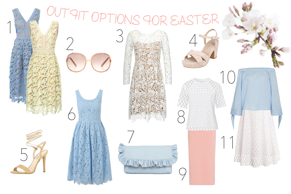 Outfit Options for Easter. Fashion Blogger Girl by Style Blog Heartfelt Hunt. Girl showing a blue and yellow lace dress, lace dress with long sleeves, light pink shoes, lace up heels, light blue lace dress, ruffled clutch, off-shoulder blouse, lace skirt, lace top and a pencil skirt.