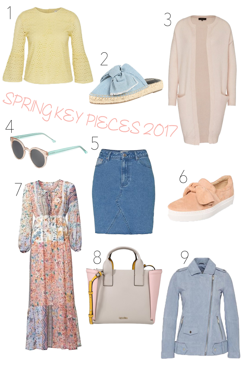 Spring Key Pieces 2017. Fashion Blogger Girl by Style Blog Heartfelt Hunt. Girl showing a blouse in pastel yellow, denim bow shoes, cozy cardigan, sunglasses in pastel colors, denim skirt, bow sneakers, floral maxi dress, bag in pastel colors and a leather jacket in pastel blue.