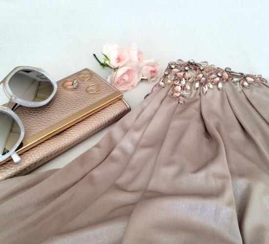 Wedding Season. Fashion Blogger Girl by Style Blog Heartfelt Hunt. Girl with blond braid wearing a grecian dress, purse, arrow ring, heart ring and sunglasses.
