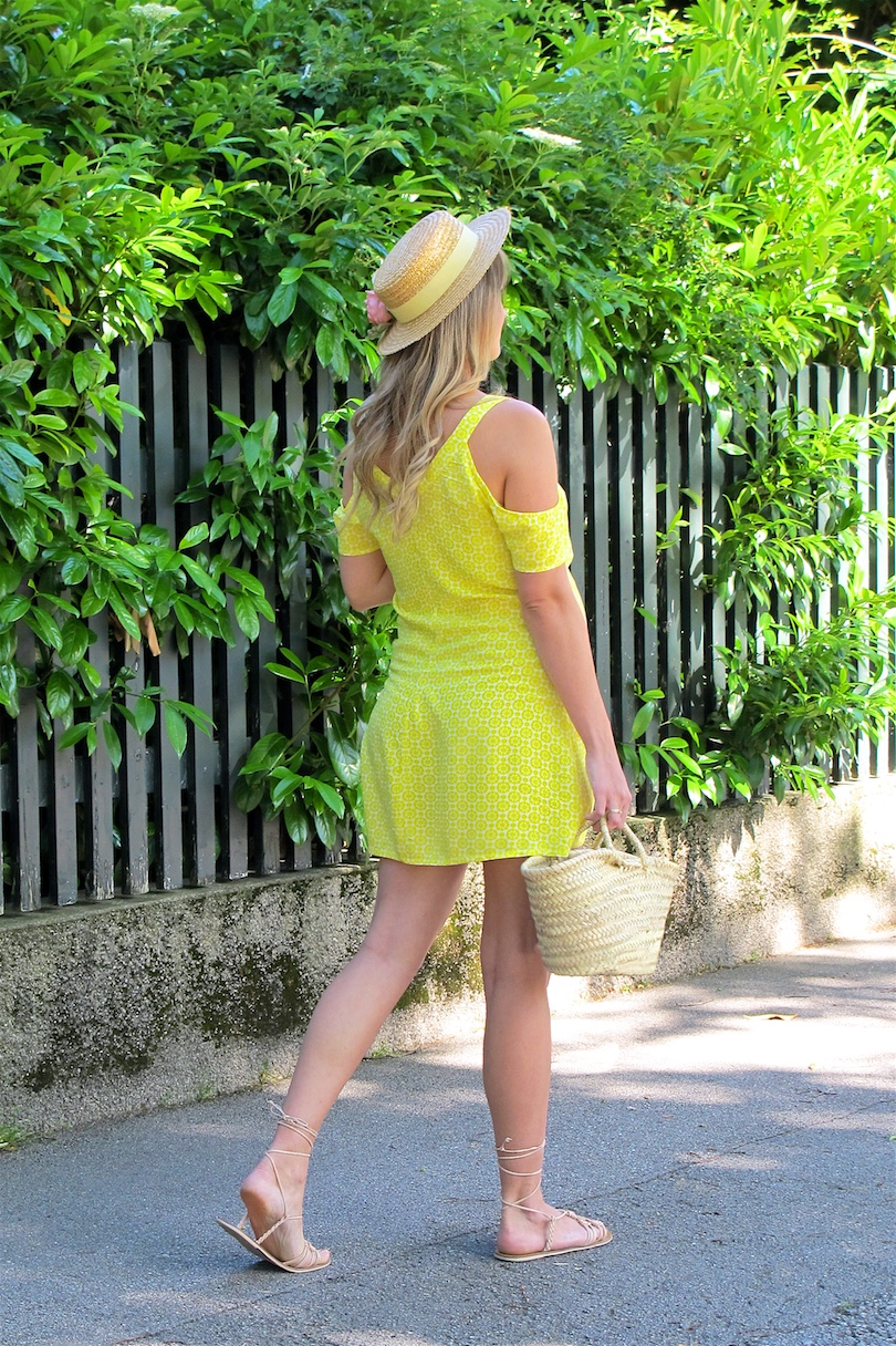 Yellow Cold Shoulder Dress. Fashion and Style Blog Girl from Heartfelt Hunt.