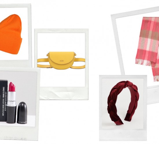 Colorful Accessories. Fashion Blogger Girl by Style Blog Heartfelt Hunt. Girl with blond, loose curls wearing an orange beanie, red braided headband, pink lipstick, yellow belt bag and checked scarf.