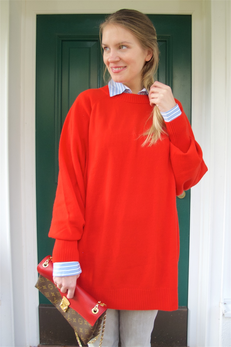 Cozy Red. Fashion Blogger Girl by Style Blog Heartfelt Hunt. Girl with blond dutch braid wearing a cozy red sweater, striped blouse, fringe jeans, Louis Vuitton bag and velvet sneakers.