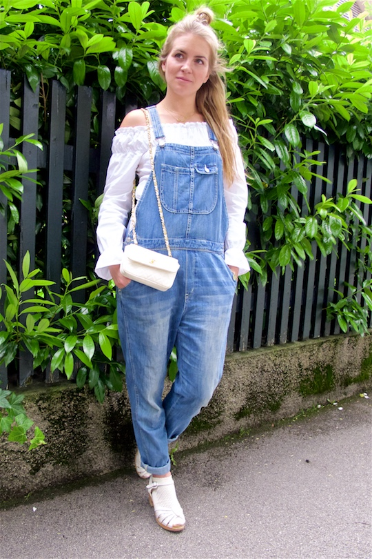 Denim Overall. Fashion and Style Blog Girl from Heartfelt Hunt. Girl with half-up half-down knot wearing a cute denim overall, off-shoulder blouse, Chanel bag and Swedish Hasbeens.