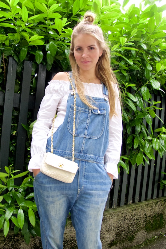 Denim Overall. Fashion and Style Blog Girl from Heartfelt Hunt. Girl with half-up half-down knot wearing a cute denim overall, off-shoulder blouse and Chanel bag.