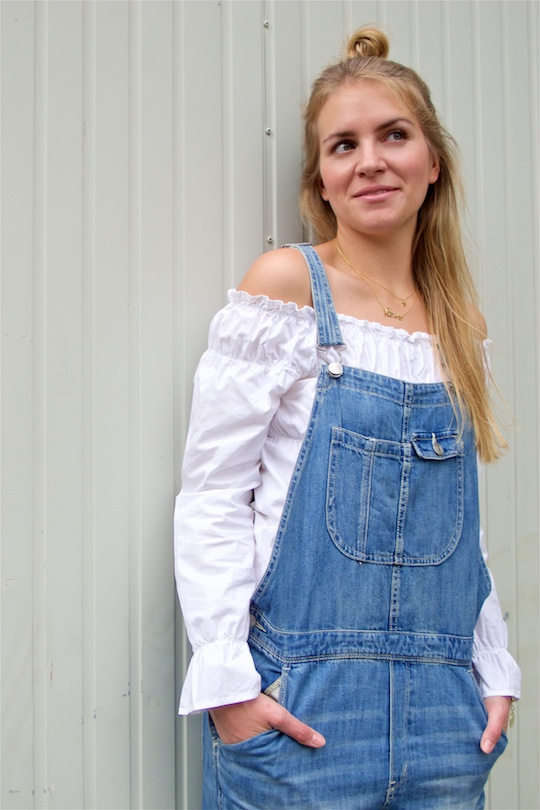 Denim Overall. Fashion and Style Blog Girl from Heartfelt Hunt. Girl with half-up half-down knot wearing a cute denim overall and off-shoulder blouse.