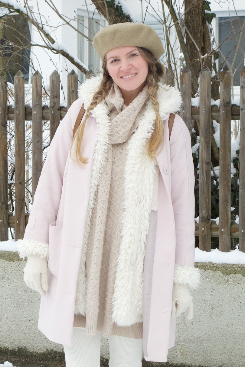 Double Coat. Fashion Blogger Girl by Style Blog Heartfelt Hunt. Girl with blond, braided pigtails wearing a light pink coat, faux fur coat, sweater dress, beret, Michael Kors backpack and boots.