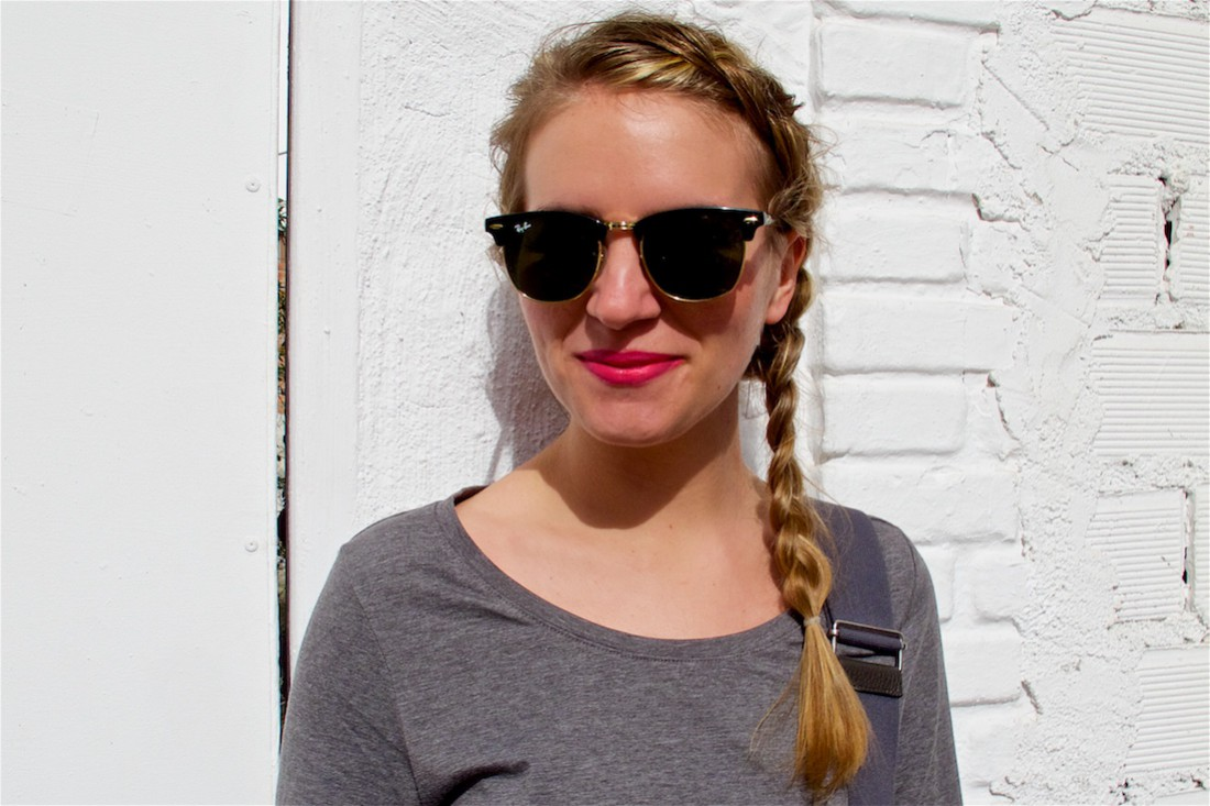 Dutch Side Braid. Fashion Blogger Girl by Style Blog Heartfelt Hunt. Girl with a dutch side braid wearing a bodycon dress, checked shirt, rayban sunglasses, hermes bag and adidas sneakers.