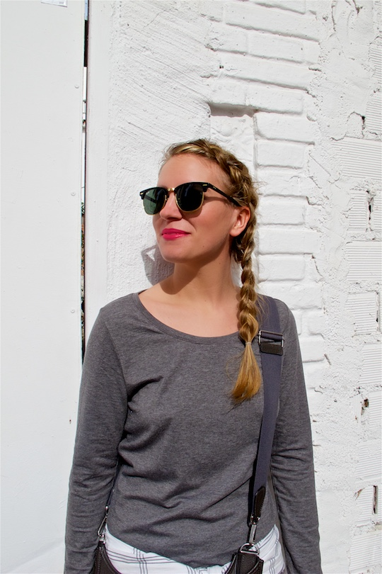 Dutch Side Braid. Fashion and Style Blog Girl from Heartfelt Hunt. Girl with a dutch side braid wearing a bodycon dress, checked shirt, rayban sunglasses, hermes bag and adidas sneakers.