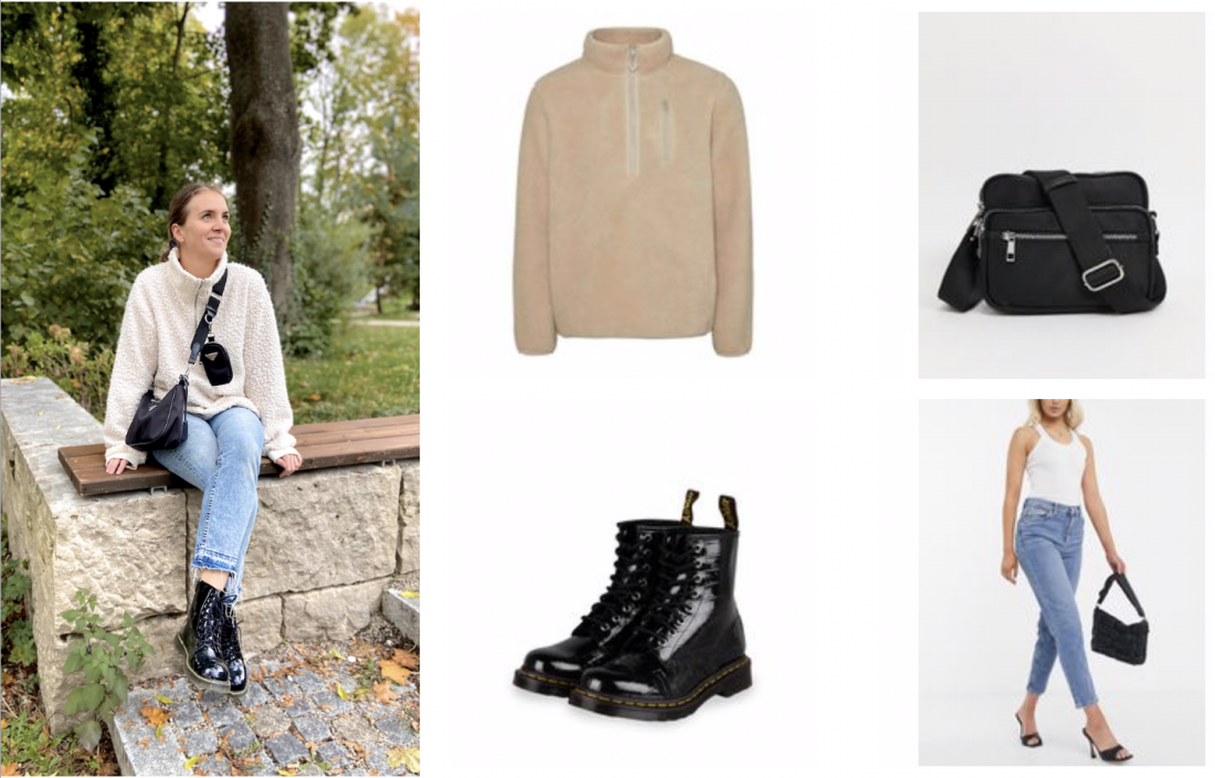 Fall Essentials 2020. Fashion and Style Blog Girl from Heartfelt Hunt. Girl with blonde, low bun wearing a teddy sweater, mom jeans, black bag and glossy boots showing her fall essentials for 2020.