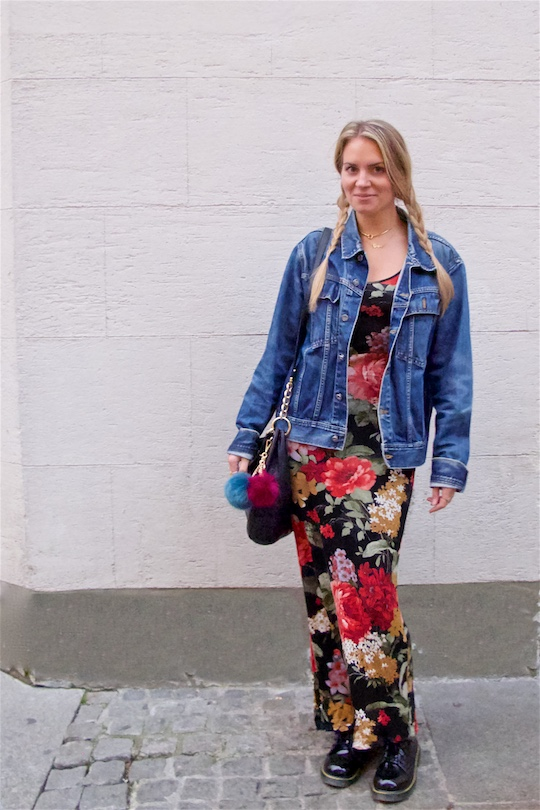 Fall Flower Dress. Fashion and Style Blog Girl from Heartfelt Hunt. Girl with two blonde pigtail braids wearing a fall flower dress, oversized denim jacket, Michael Kors bag and boots.