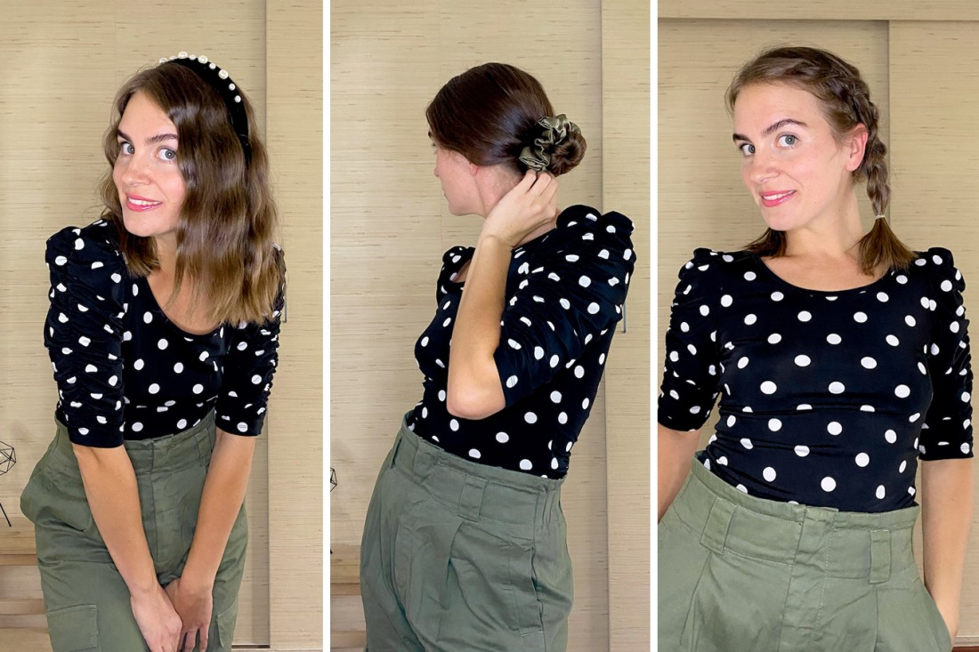 Fall Hairstyles. Fashion Blogger Girl by Style Blog Heartfelt Hunt. Girl with blond hair showing three fall hairstyles and wearing a polka dot top, green cargo pants, pearl headband and scrunchie.