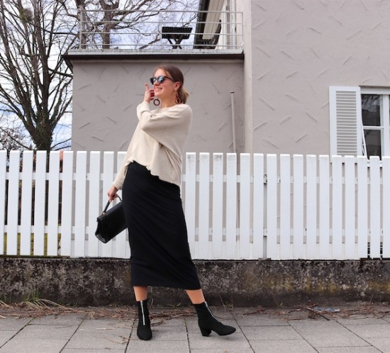 Fashion Basics. Fashion Blogger Girl by Style Blog Heartfelt Hunt. Girl with blond low bun wearing a basic sweater, basic pencil skirt, tortoiseshell sunglasses, tortoiseshell earrings, vintage MCM bag and sock boots.