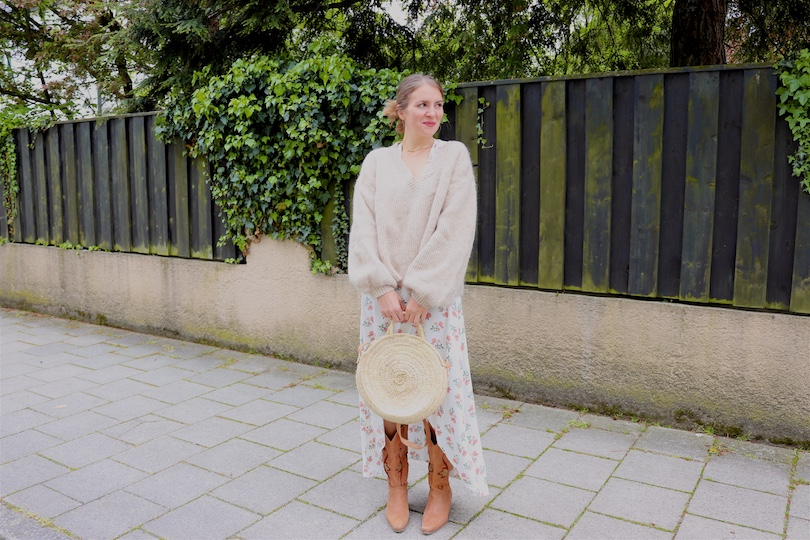 Floral Beige. Fashion Blogger Girl by Style Blog Heartfelt Hunt. Girl with blond hair wearing a floral wrap dress, beige sweater, round straw bag and cowboy boots.