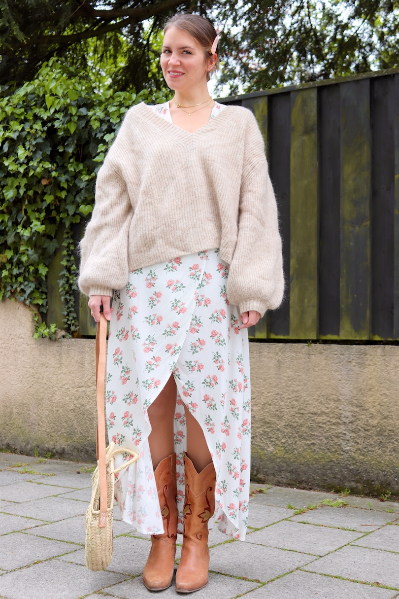 Floral Beige. Fashion and Style Blog Girl from Heartfelt Hunt. Girl with blonde hair wearing a floral wrap dress, beige sweater, round straw bag and cowboy boots.