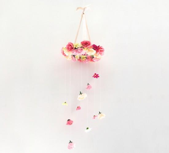 Flower Chandelier DIY. Fashion Blogger Girl by Style Blog Heartfelt Hunt showing a diy for a flower chandelier.