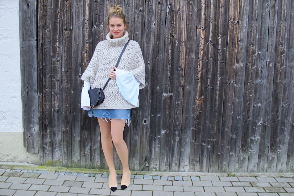 Heavy Knit. Fashion and Style Blog Girl from Heartfelt Hunt. Girl with blonde messy bun wearing a heavy knit sweater, bell sleeve blouse, denim skirt, Chloé bag and shoes with platform heels.
