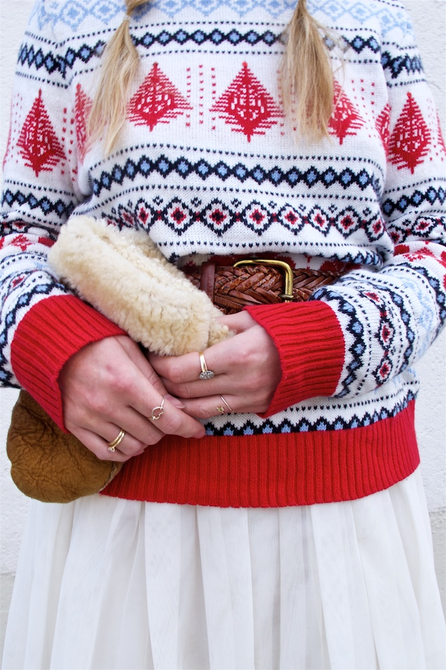 Holiday Tulle Styles. Fashion Blogger Girl by Style Blog Heartfelt Hunt. Girl with blond pigtail braids wearing a tulle skirt, Norwegian sweater, earmuffs, mittens and boots.