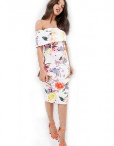 Girl wearing a shoulder-free floral bodycon dress