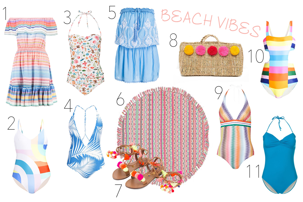 Inspiration Beach Vibes. Fashion Blogger Girl by Style Blog Heartfelt Hunt. Girl showing striped dress, graphic swimsuit, seafood swimsuit, palm print swimsuit, embroidered beach dress, round beach blanket, sandals with pompons, basket bag with pompons, Missoni swimsuit, striped swimsuit and blue swimsuit.