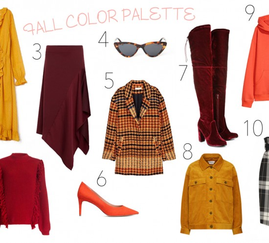 Inspiration Fall Color Palette. Fashion and Style Blog Girl from Heartfelt Hunt showing some inspiration for a fall color palette.