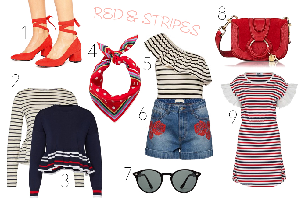 Inspiration Red Stripes. Fashion Blogger Girl by Style Blog Heartfelt Hunt. Girl showing red lace up shoes, peplum top with stripes, peplum sweater with stripes, red scarf, ruffled body with stripes, denim shorts, Ray-Ban sunglasses, red See by Chloé bag and dress with blue and red stripes