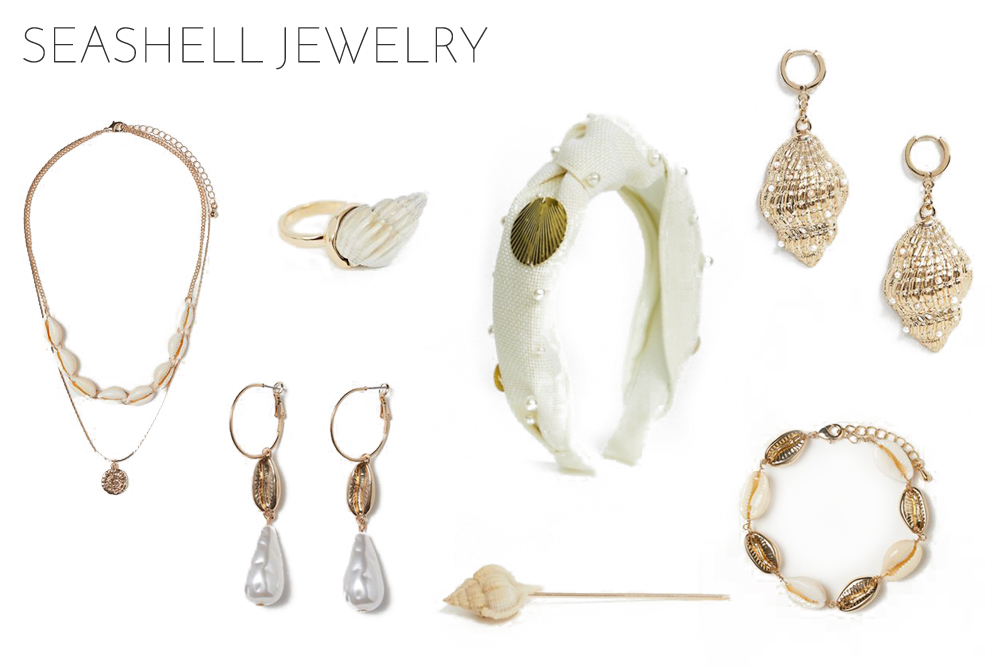 Inspiration Seashell Jewelry. Fashion and Style Blog Girl from Heartfelt Hunt showing her inspiration for striped and floral pieces.