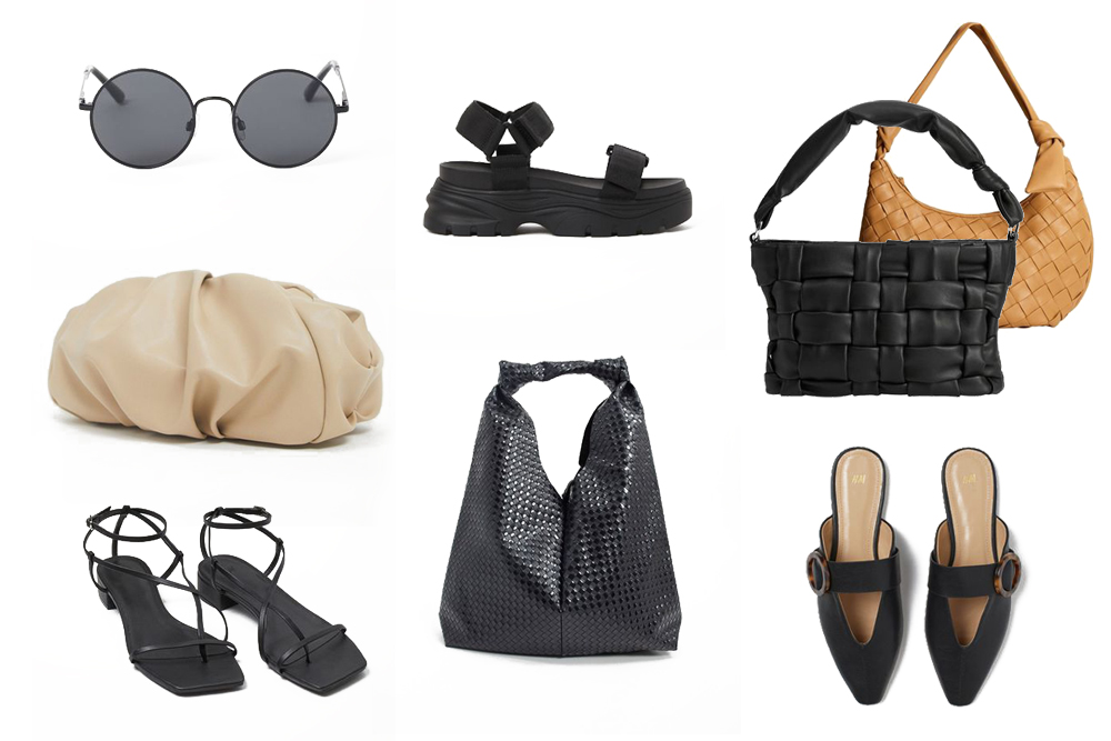 Inspiration Summer Accessories 2020. Fashion and Style Blog Girl from Heartfelt Hunt showing her inspiration board for summer accessories in 2020 - Round Sunglasses, Nude Clutch, Lace-Up Sandals, Chunky Flats, Black Bag, Woven Black Bag, Woven Brown Bag, Black Mules.