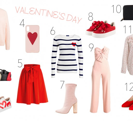 Inspiration Valentines Day. Fashion Blogger Girl by Style Blog Heartfelt Hunt. Girl showing light pink sweater, belt with hearts, sneakers with hearts, phone case with heart, red skirt, striped sweater with heart, light pink boots, red sneakers, light pink overall, purse with heart, blouse with hearts and red heels.