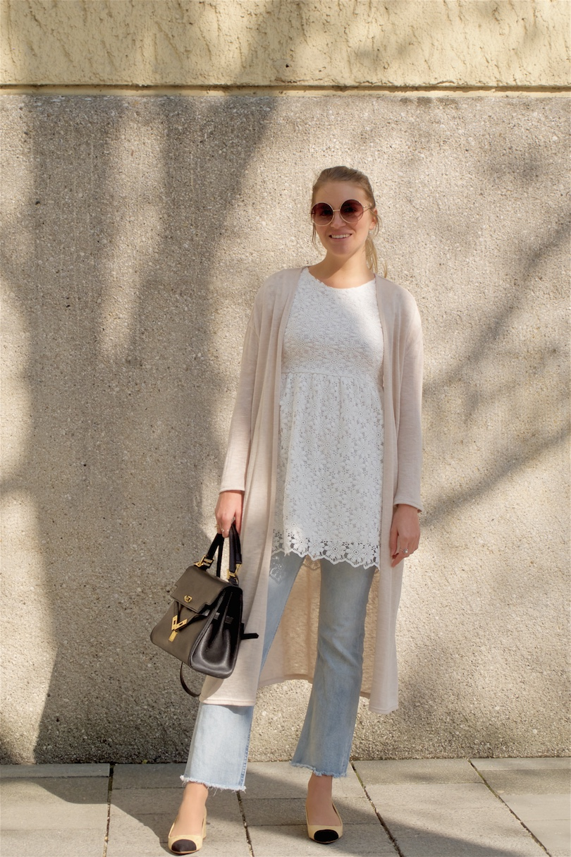 Lace & Layers. Fashion and Style Blog Girl from Heartfelt Hunt. Girl with blonde high ponytail wearing a lace dress, long cardigan, cropped flare jeans, MCM vintage bag and shoes with platform heels.
