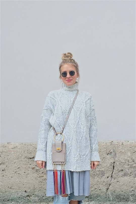 Layers. Fashion and Style Blog Girl from Heartfelt Hunt. Girl with blonde upside down braided bun wearing an oversized sweater, dress, destroyed jeans, Chloé bag, Ray-Ban sunglasses and burgundy brogues.