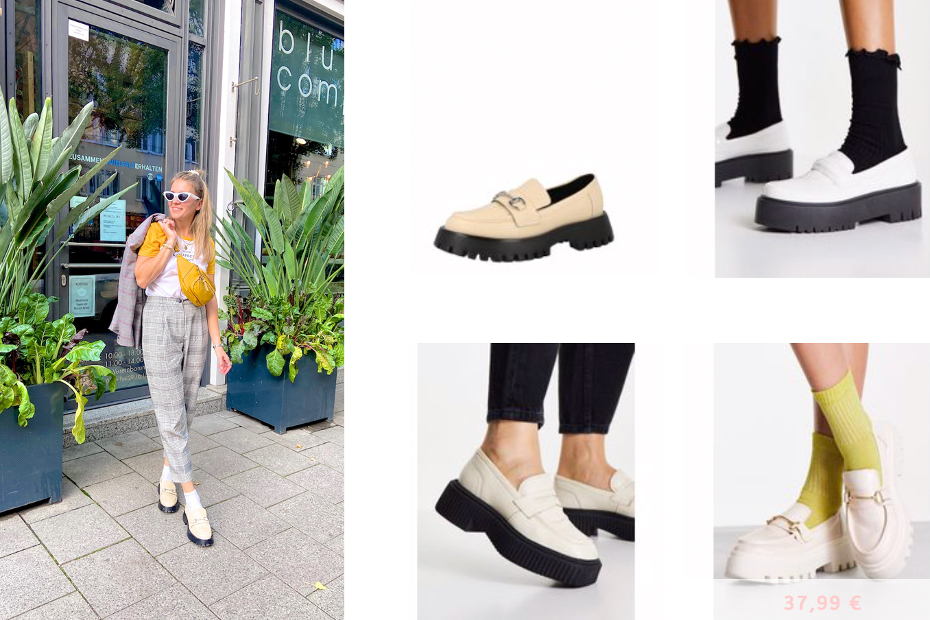 Loafers Trend. Fashion Blogger Girl by Style Blog Heartfelt Hunt. Girl with blond half-up half-down hairstyle wearing check pants, check blazer, yellow tee, yellow belt bag and chunky loafers.