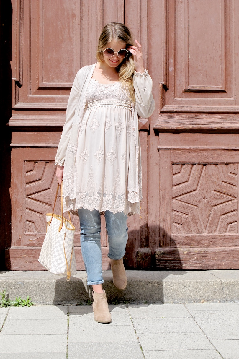 Maternity Jeans. Fashion and Style Blog Girl from Heartfelt Hunt. Girl with blonde, loose curls wearing some maternity jeans, lace dress, cardigan, Louis Vuitton bag and ankle boots.