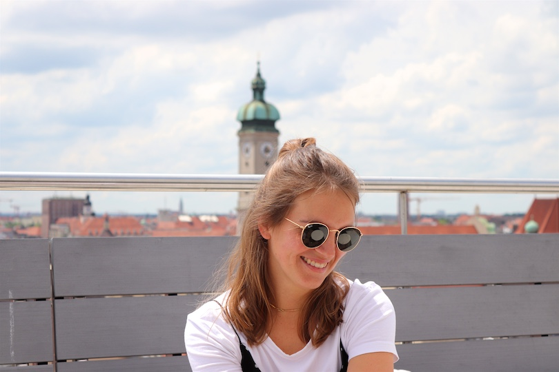 My Birthday 2019. Fashion Blogger Girl by Style Blog Heartfelt Hunt. Girl with blond half-up half-down high messy bun wearing a slip dress with polka dots, T-shirt, Ray-Ban sunglasses and Converse sneakers.