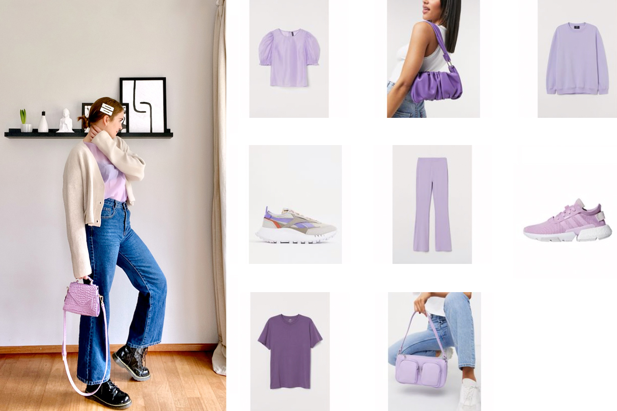 Purple Trend. Fashion Blogger Girl by Style Blog Heartfelt Hunt. Girl with blond low bun and silver hair clips wearing a cardigan, purple blouse, wide leg jeans, purple bag and glossy boots showing some cute pieces for the purple fashion trend.