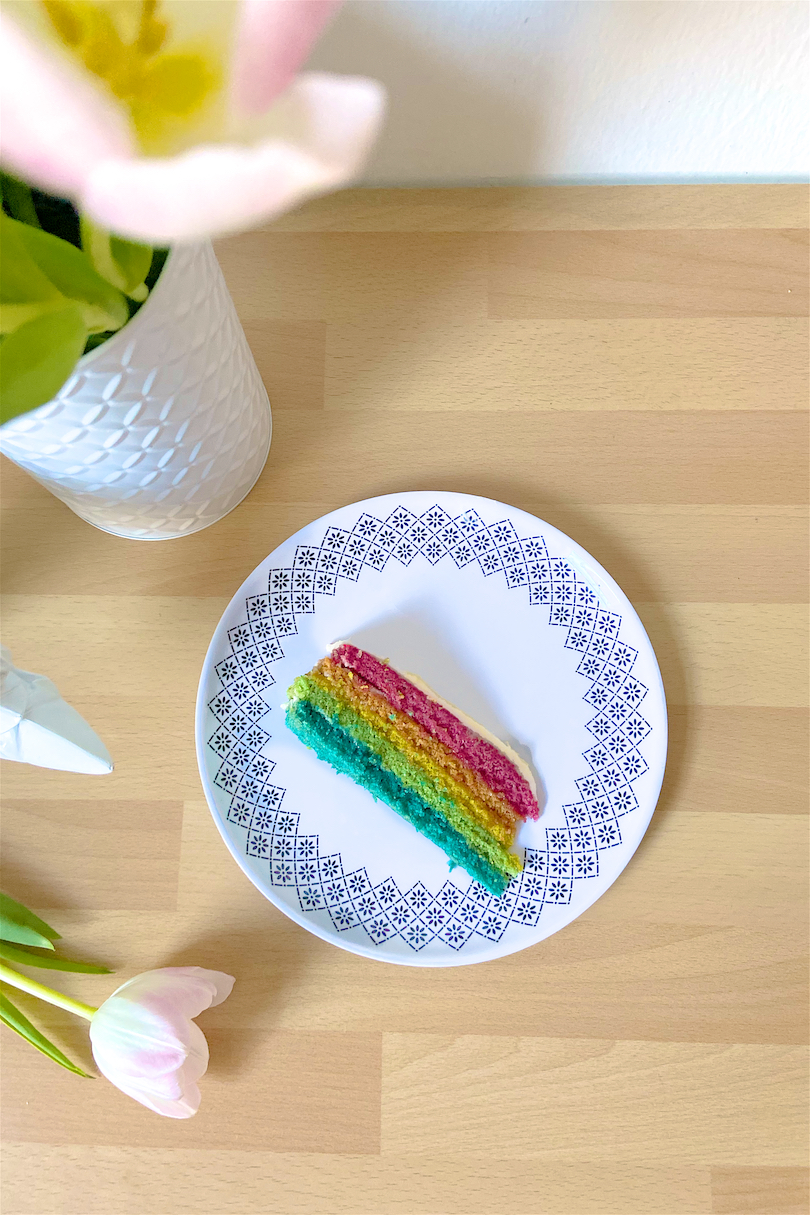 Rainbow Cake. Fashion and Style Blog Girl from Heartfelt Hunt showing her rainbow cake.