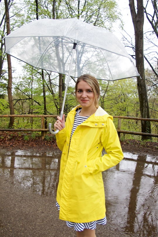 Rainy Days. Fashion Blogger Girl by Style Blog Heartfelt Hunt. Girl wearing a yellow raincoat, striped dress and an umbrella.