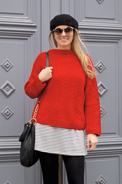 Red & Stripes. Fashion and Style Blog Girl from Heartfelt Hunt. Girl with blonde, loose curls wearing a red sweater, striped dress, marbled sunglasses, beret, Michael Kors bag and glossy boots.