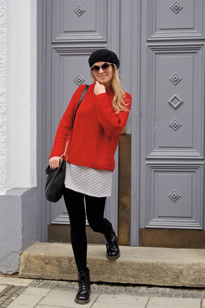 Red & Stripes. Fashion Blogger Girl by Style Blog Heartfelt Hunt. Girl with blond, loose curls wearing a red sweater, striped dress, marbled sunglasses, beret, Michael Kors bag and glossy boots.