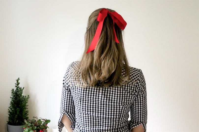 Ribbon Holiday Season Hairstyles. Fashion and Style Blog Girl from Heartfelt Hunt. Girl with blonde hair wearing a checked blouse showing 3 holiday season hairstyles with 1 ribbon.
