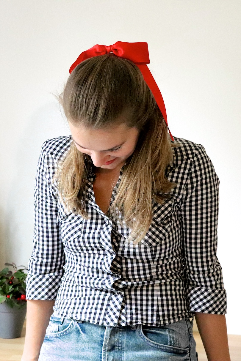 Ribbon Holiday Season Hairstyles. Fashion Blogger Girl by Style Blog Heartfelt Hunt. Girl with blond hair wearing a checked blouse showing 3 holiday season hairstyles with 1 ribbon.