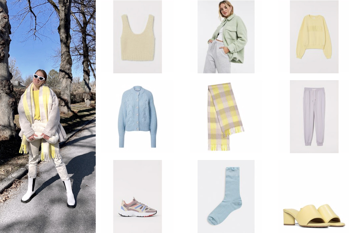 Spring Colors. Fashion Blogger Girl by Style Blog Heartfelt Hunt. Girl with blond hair wearing an off-white look with yellow details showing this year's spring colors and the cutest fashion pieces in purple, baby blue, pastel green and yellow.