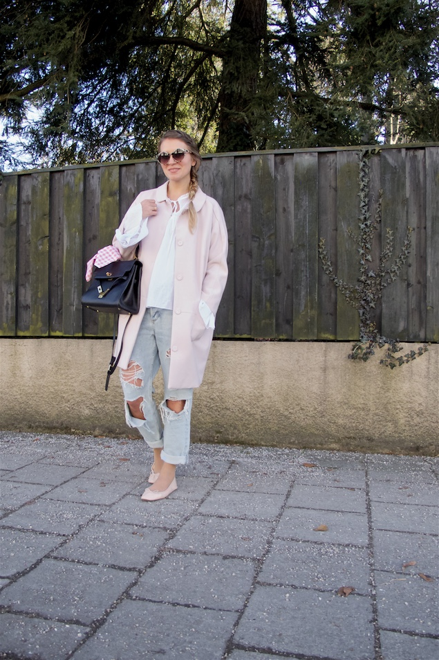 Spring Pink. Fashion Blogger Girl by Style Blog Heartfelt Hunt. Girl with blond four strand twisted side braid wearing a spring pink coat, blouse with bell sleeves, destroyed jeans, sunglasses, bag and pink ballet flats.