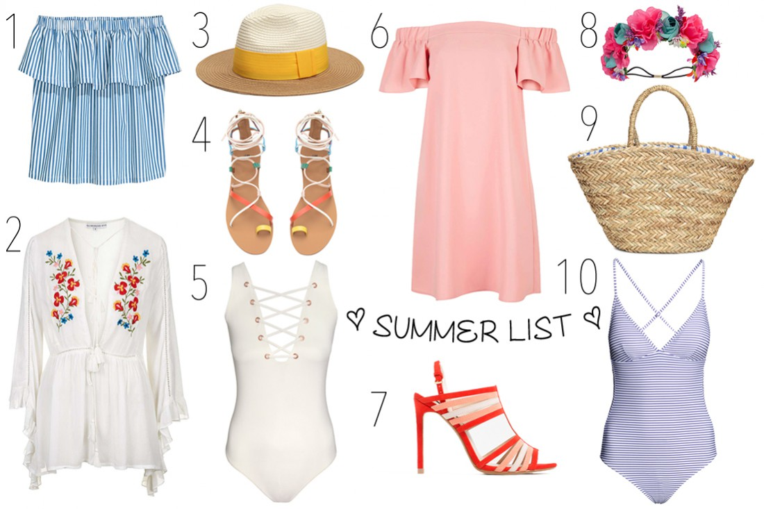 Summer List. Fashion Blogger Girl by Style Blog Heartfelt Hunt. Girl showing some summer stuff like off-shoulder tops and dresses, colorful sandals, swimsuits, flower headbands, straw bags and hats.