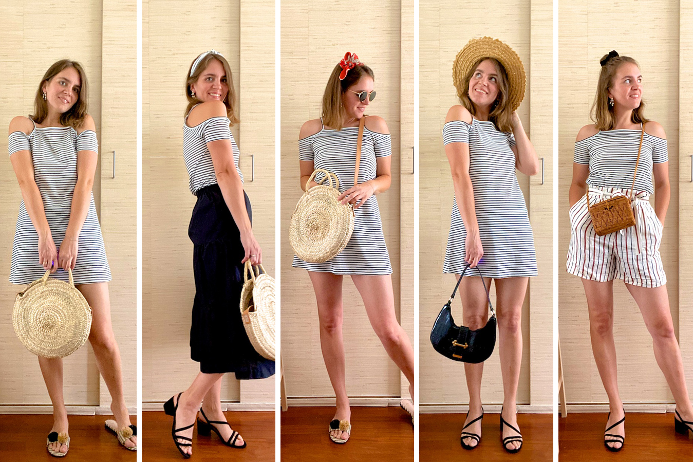 Summer Looks Striped Dress. Fashion Blogger Girl by Style Blog Heartfelt Hunt. Girl with blond long bob wearing a striped dress in 5 different ways.