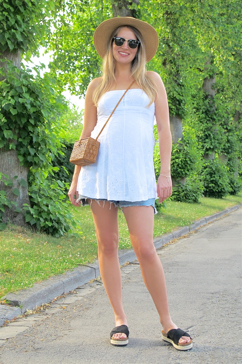 Summer White Straw. Fashion and Style Blog Girl from Heartfelt Hunt. Girl with blonde, long hair wearing a summer white dress, straw hat, Ray-Ban sunglasses, basket bag, denim shorts and espadrille sandals.