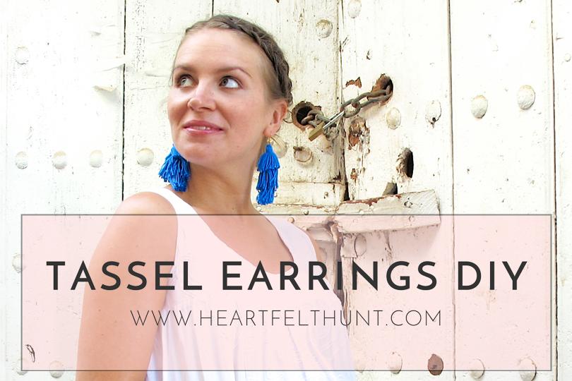 Tassel Earrings DIY. Fashion Blogger Girl by Style Blog Heartfelt Hunt. Girl with blond dutch braided low bun wearing tassel earrings, white summer dress, Ray-Ban sunglasses, basket bag and espadrille sandals.