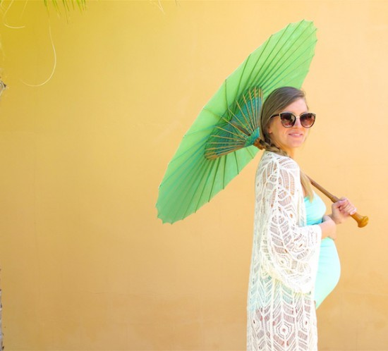 Turquoise Umbrella. Fashion Blogger Girl by Style Blog Heartfelt Hunt. Girl with blond side braid wearing a turquoise swimsuit and crochet coverup.
